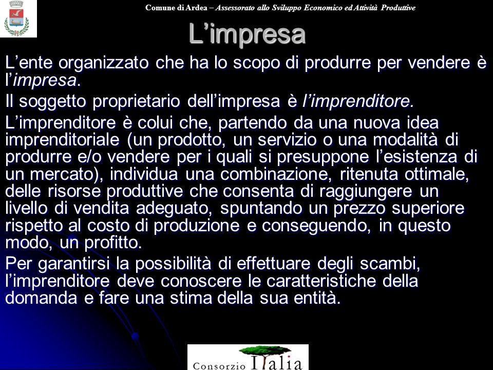 Comune di Ardea – Assessorato allo Sviluppo Economico ed Attività ProduttiveLimpresa Lente organizzato che ha lo scopo di produrre per vendere è limpresa.