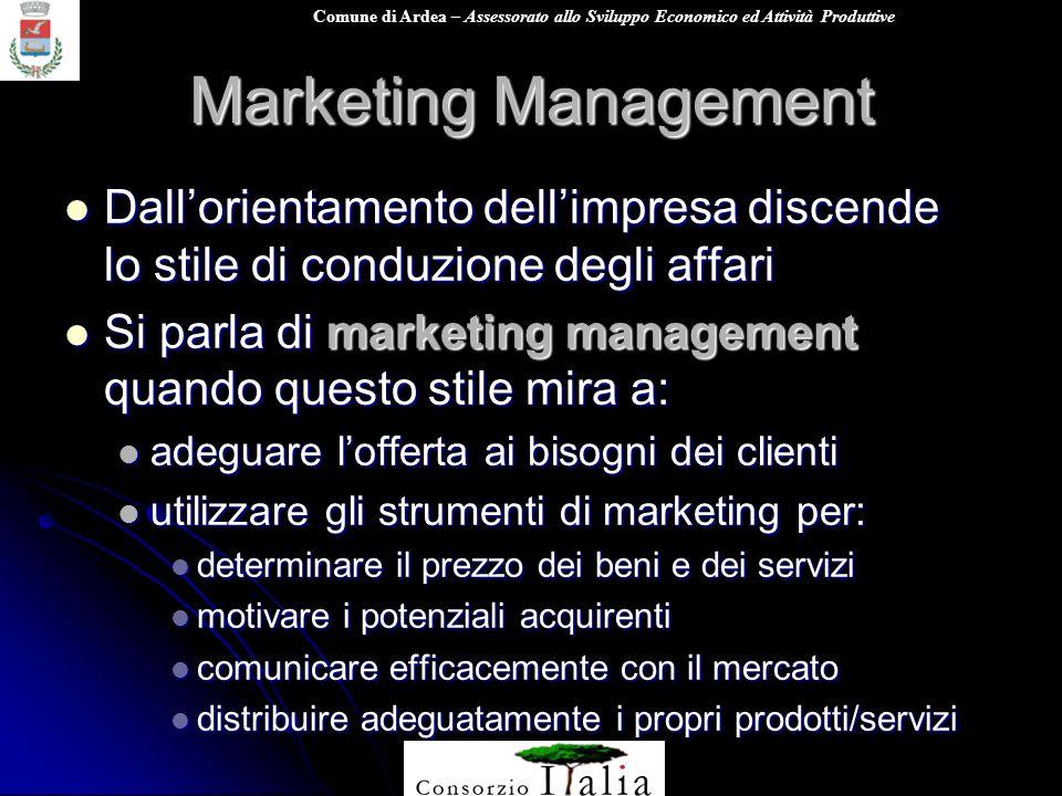 Comune di Ardea – Assessorato allo Sviluppo Economico ed Attività Produttive Marketing Management Dallorientamento dellimpresa discende lo stile di co