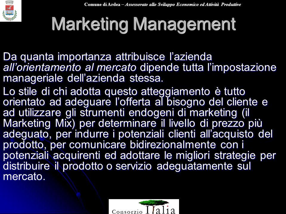 Comune di Ardea – Assessorato allo Sviluppo Economico ed Attività Produttive Marketing Management Da quanta importanza attribuisce lazienda allorientamento al mercato dipende tutta limpostazione manageriale dellazienda stessa.