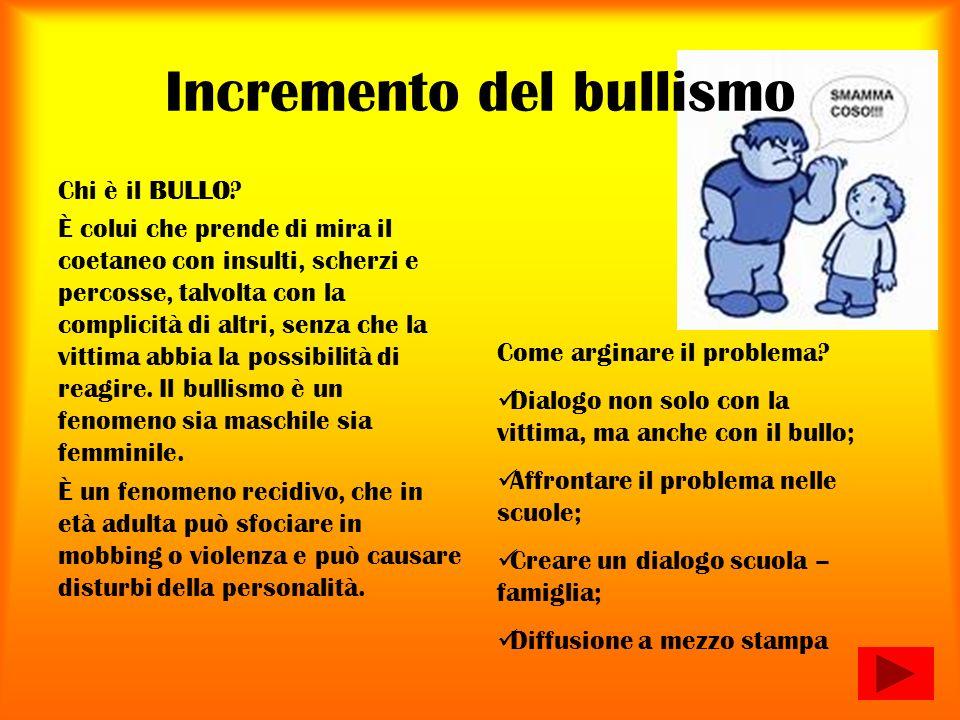Incremento del bullismo Chi è il BULLO.