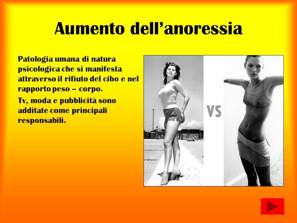 Aumento dellanoressia Patologia umana di natura psicologica che si manifesta attraverso il rifiuto del cibo e nel rapporto peso – corpo. Tv, moda e pu