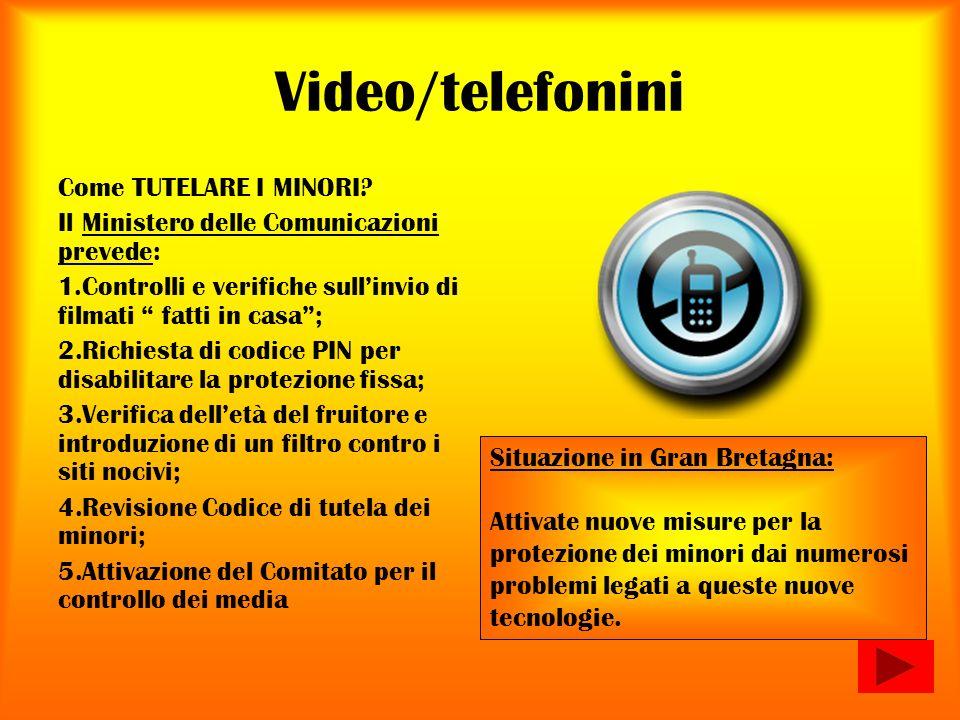 Video/telefonini Come TUTELARE I MINORI? Il Ministero delle Comunicazioni prevede: 1.Controlli e verifiche sullinvio di filmati fatti in casa; 2.Richi