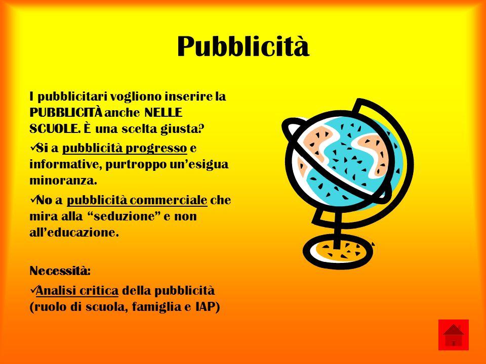 Pubblicità I pubblicitari vogliono inserire la PUBBLICITÀ anche NELLE SCUOLE.