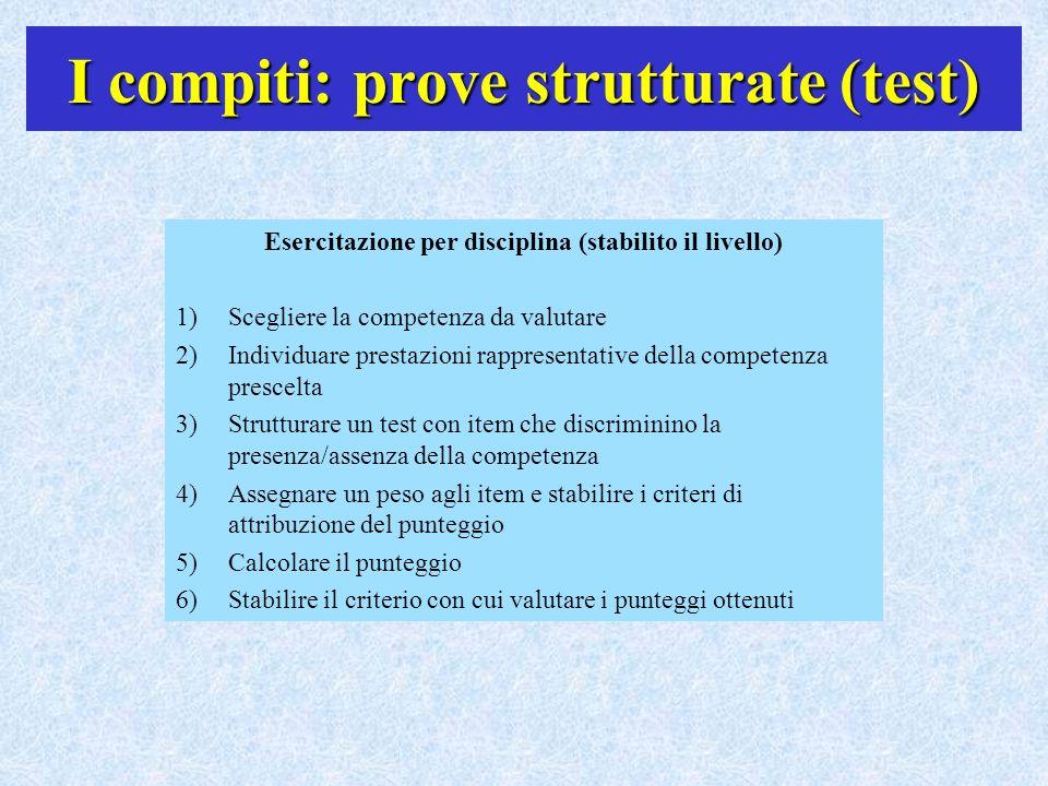 I compiti: prove strutturate (test) Esercitazione per disciplina (stabilito il livello) 1)Scegliere la competenza da valutare 2)Individuare prestazion