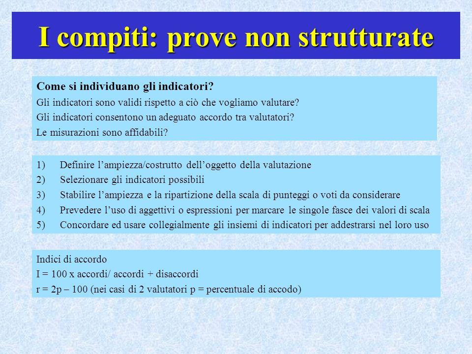 I compiti: prove non strutturate Come si individuano gli indicatori? Gli indicatori sono validi rispetto a ciò che vogliamo valutare? Gli indicatori c