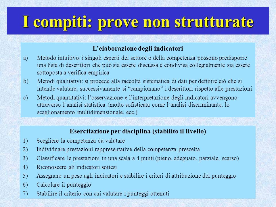 I compiti: prove non strutturate Lelaborazione degli indicatori a)Metodo intuitivo: i singoli esperti del settore o della competenza possono predispor