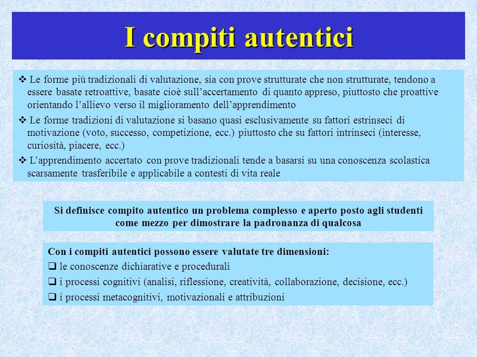 I compiti autentici Le forme più tradizionali di valutazione, sia con prove strutturate che non strutturate, tendono a essere basate retroattive, basa