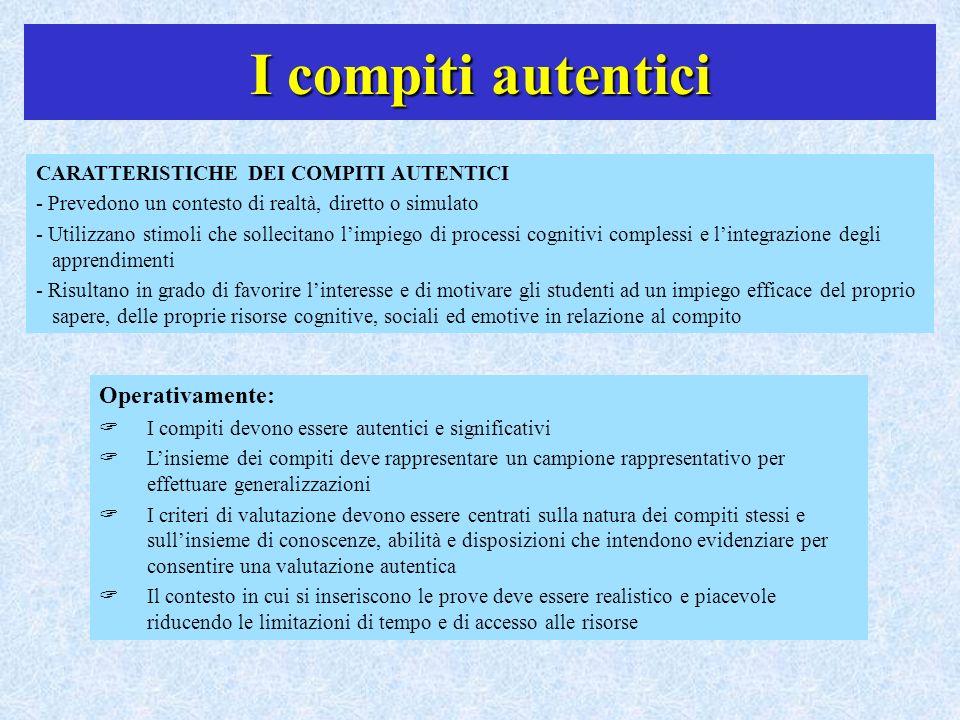 I compiti autentici CARATTERISTICHE DEI COMPITI AUTENTICI - Prevedono un contesto di realtà, diretto o simulato - Utilizzano stimoli che sollecitano l