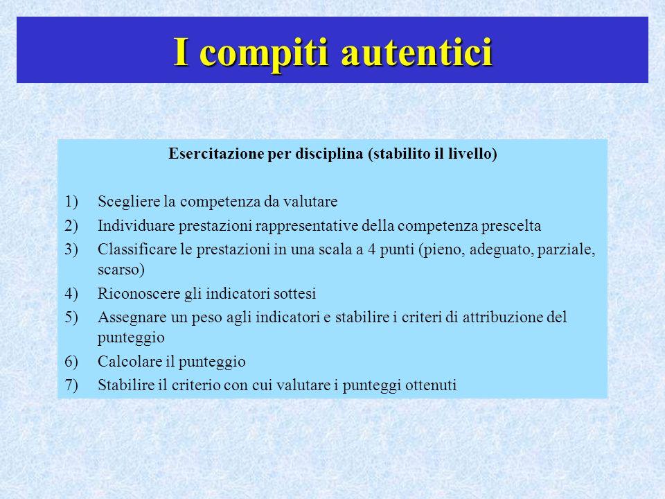 I compiti autentici Esercitazione per disciplina (stabilito il livello) 1)Scegliere la competenza da valutare 2)Individuare prestazioni rappresentativ