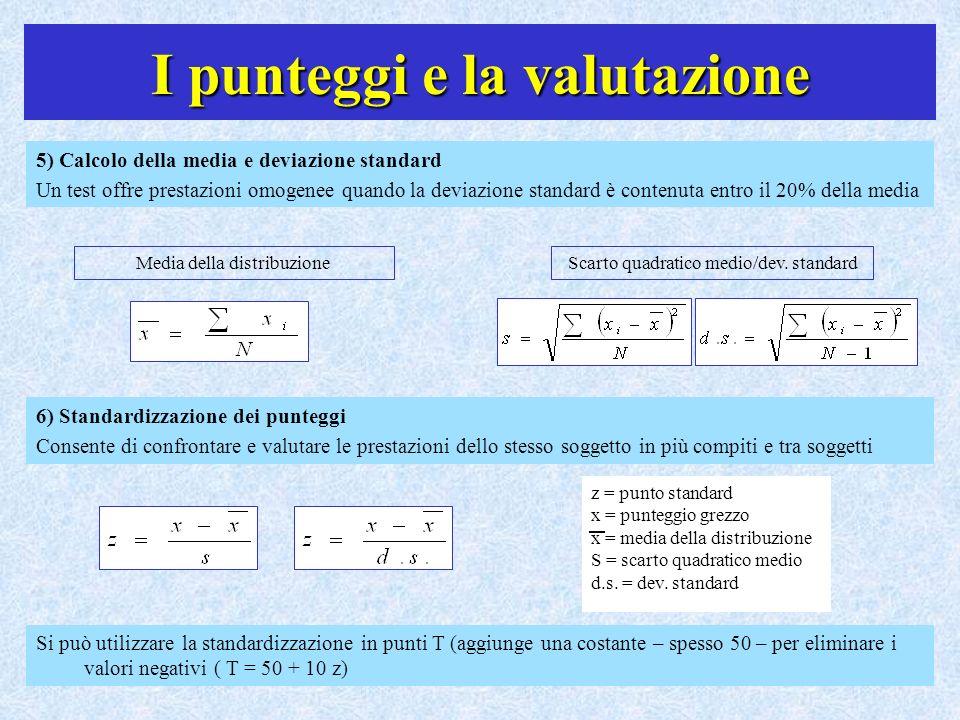I punteggi e la valutazione 5) Calcolo della media e deviazione standard Un test offre prestazioni omogenee quando la deviazione standard è contenuta