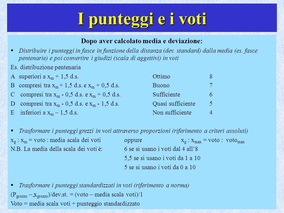 I punteggi e i voti Dopo aver calcolato media e deviazione: Distribuire i punteggi in fasce in funzione della distanza (dev. standard) dalla media (es