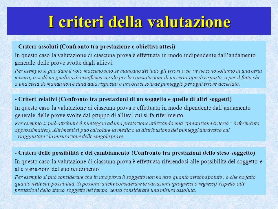 I criteri della valutazione - Criteri assoluti (Confronto tra prestazione e obiettivi attesi) In questo caso la valutazione di ciascuna prova è effett