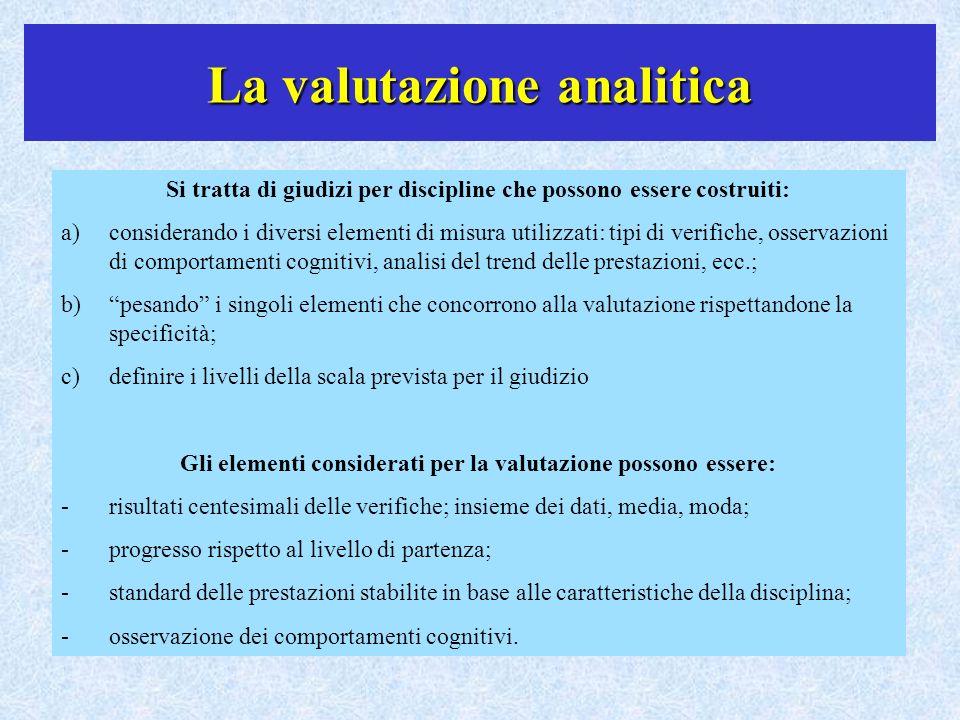 La valutazione analitica Si tratta di giudizi per discipline che possono essere costruiti: a)considerando i diversi elementi di misura utilizzati: tip