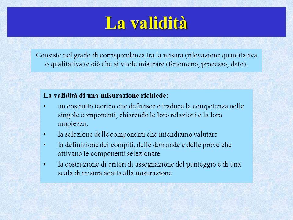 La validità Consiste nel grado di corrispondenza tra la misura (rilevazione quantitativa o qualitativa) e ciò che si vuole misurare (fenomeno, process