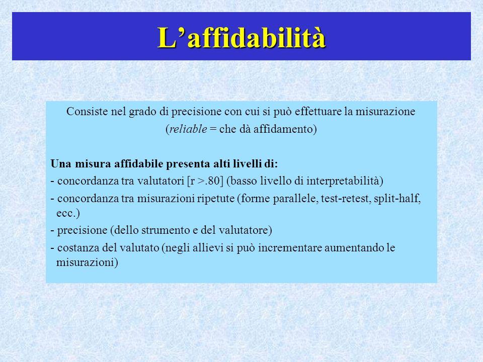 Laffidabilità Consiste nel grado di precisione con cui si può effettuare la misurazione (reliable = che dà affidamento) Una misura affidabile presenta