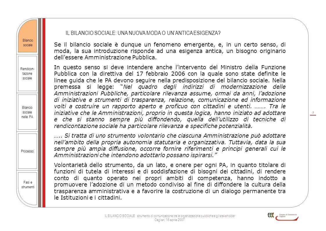 7 IL BILANCIO SOCIALE : strumento di comunicazione tra le organizzazione pubbliche e gli stakeholder Cagliari, 16 aprile 2007 Rendicon- tazione social