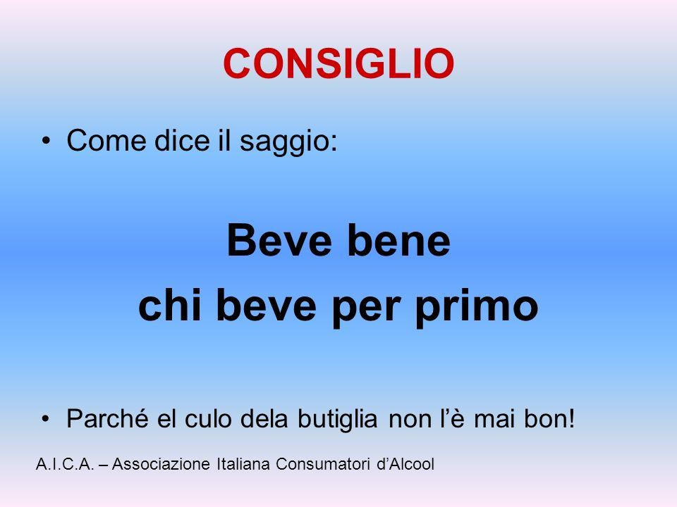 CONSIGLIO Come dice il saggio: Beve bene chi beve per primo Parché el culo dela butiglia non lè mai bon! A.I.C.A. – Associazione Italiana Consumatori