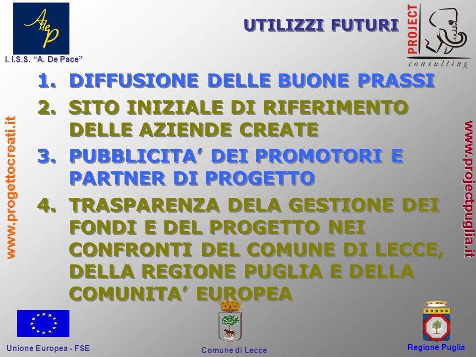 Regione Puglia Comune di Lecce I. I.S.S. A. De Pace Unione Europea - FSE www.progettocreati.it www.projectpuglia.it 1.DIFFUSIONE DELLE BUONE PRASSI 2.