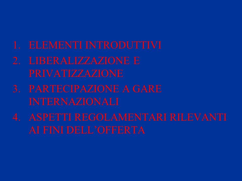 1.ELEMENTI INTRODUTTIVI 2.LIBERALIZZAZIONE E PRIVATIZZAZIONE 3.PARTECIPAZIONE A GARE INTERNAZIONALI 4.ASPETTI REGOLAMENTARI RILEVANTI AI FINI DELLOFFERTA