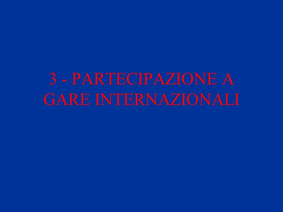 3 - PARTECIPAZIONE A GARE INTERNAZIONALI