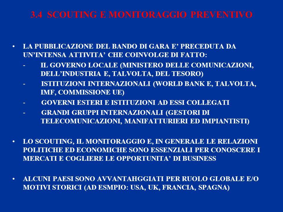 3.4 SCOUTING E MONITORAGGIO PREVENTIVO LA PUBBLICAZIONE DEL BANDO DI GARA E PRECEDUTA DA UNINTENSA ATTIVITA CHE COINVOLGE DI FATTO: -IL GOVERNO LOCALE (MINISTERO DELLE COMUNICAZIONI, DELLINDUSTRIA E, TALVOLTA, DEL TESORO) - ISTITUZIONI INTERNAZIONALI (WORLD BANK E, TALVOLTA, IMF, COMMISSIONE UE) - GOVERNI ESTERI E ISTITUZIONI AD ESSI COLLEGATI - GRANDI GRUPPI INTERNAZIONALI (GESTORI DI TELECOMUNICAZIONI, MANIFATTURIERI ED IMPIANTISTI) LO SCOUTING, IL MONITORAGGIO E, IN GENERALE LE RELAZIONI POLITICHE ED ECONOMICHE SONO ESSENZIALI PER CONOSCERE I MERCATI E COGLIERE LE OPPORTUNITA DI BUSINESS ALCUNI PAESI SONO AVVANTAHGGIATI PER RUOLO GLOBALE E/O MOTIVI STORICI (AD ESMPIO: USA, UK, FRANCIA, SPAGNA)