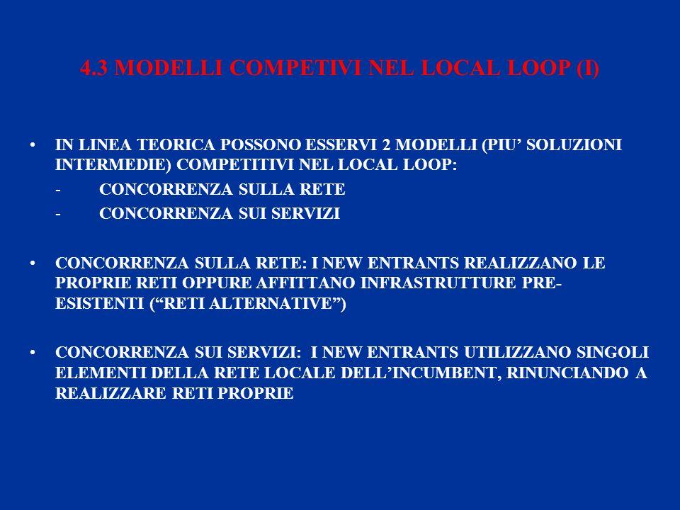 4.3 MODELLI COMPETIVI NEL LOCAL LOOP (I) IN LINEA TEORICA POSSONO ESSERVI 2 MODELLI (PIU SOLUZIONI INTERMEDIE) COMPETITIVI NEL LOCAL LOOP: - CONCORRENZA SULLA RETE - CONCORRENZA SUI SERVIZI CONCORRENZA SULLA RETE: I NEW ENTRANTS REALIZZANO LE PROPRIE RETI OPPURE AFFITTANO INFRASTRUTTURE PRE- ESISTENTI (RETI ALTERNATIVE) CONCORRENZA SUI SERVIZI: I NEW ENTRANTS UTILIZZANO SINGOLI ELEMENTI DELLA RETE LOCALE DELLINCUMBENT, RINUNCIANDO A REALIZZARE RETI PROPRIE