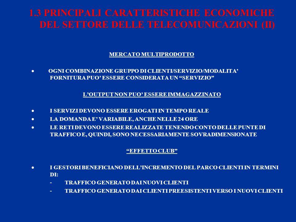 1.3 PRINCIPALI CARATTERISTICHE ECONOMICHE DEL SETTORE DELLE TELECOMUNICAZIONI (II) MERCATO MULTIPRODOTTO OGNI COMBINAZIONE GRUPPO DI CLIENTI/SERVIZIO/MODALITA FORNITURA PUO ESSERE CONSIDERATA UN SERVIZIO LOUTPUT NON PUO ESSERE IMMAGAZZINATO I SERVIZI DEVONO ESSERE EROGATI IN TEMPO REALE LA DOMANDA E VARIABILE, ANCHE NELLE 24 ORE LE RETI DEVONO ESSERE REALIZZATE TENENDO CONTO DELLE PUNTE DI TRAFFICO E, QUINDI, SONO NECESSARIAMENTE SOVRADIMENSIONATE EFFETTO CLUB I GESTORI BENEFICIANO DELLINCREMENTO DEL PARCO CLIENTI IN TERMINI DI: - TRAFFICO GENERATO DAI NUOVI CLIENTI - TRAFFICO GENERATO DAI CLIENTI PREESISTENTI VERSO I NUOVI CLIENTI