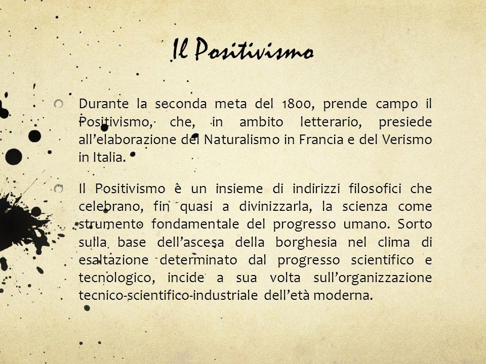 Il Positivismo Durante la seconda meta del 1800, prende campo il Positivismo, che, in ambito letterario, presiede allelaborazione del Naturalismo in F