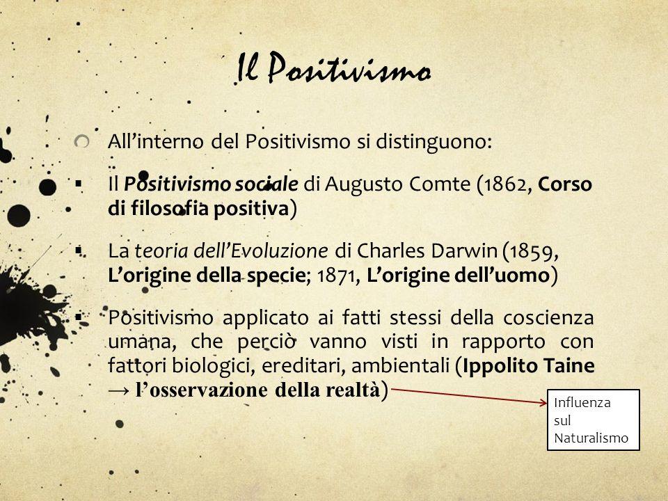 Il Positivismo Allinterno del Positivismo si distinguono: Il Positivismo sociale di Augusto Comte (1862, Corso di filosofia positiva) La teoria dellEv