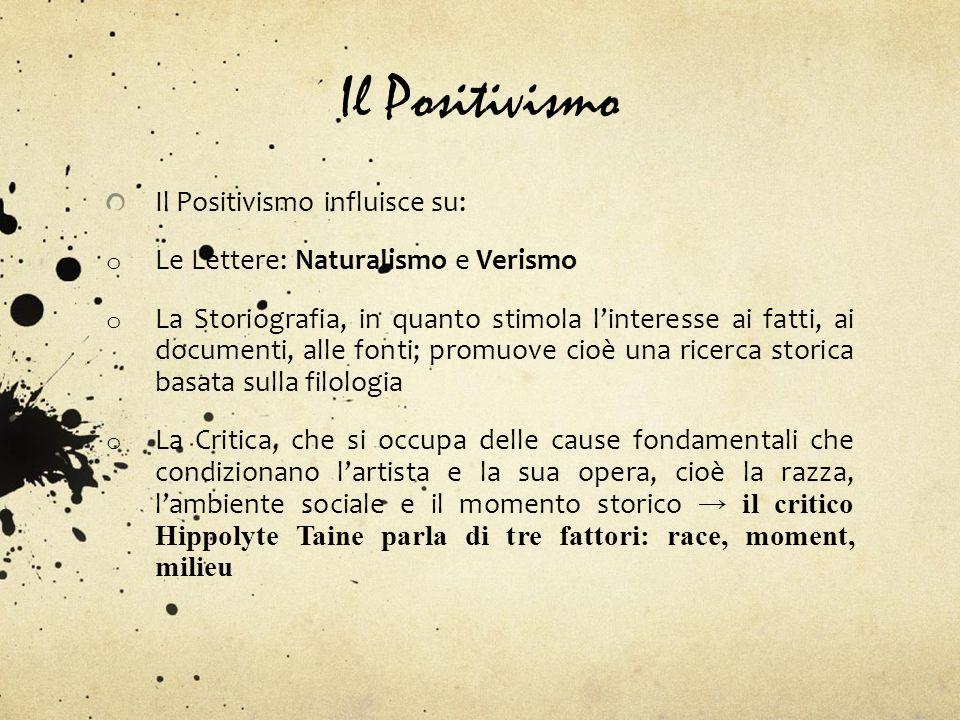 Il Positivismo Il Positivismo influisce su: o Le Lettere: Naturalismo e Verismo o La Storiografia, in quanto stimola linteresse ai fatti, ai documenti