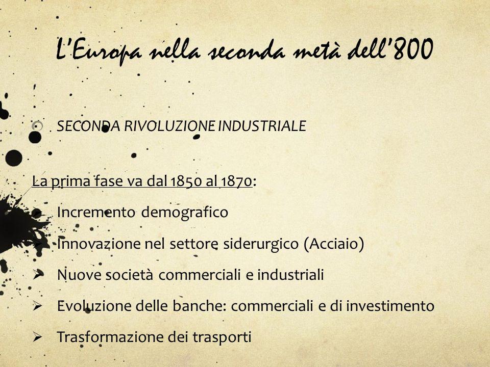 LEuropa nella seconda metà dell800 SECONDA RIVOLUZIONE INDUSTRIALE La prima fase va dal 1850 al 1870: Incremento demografico Innovazione nel settore s