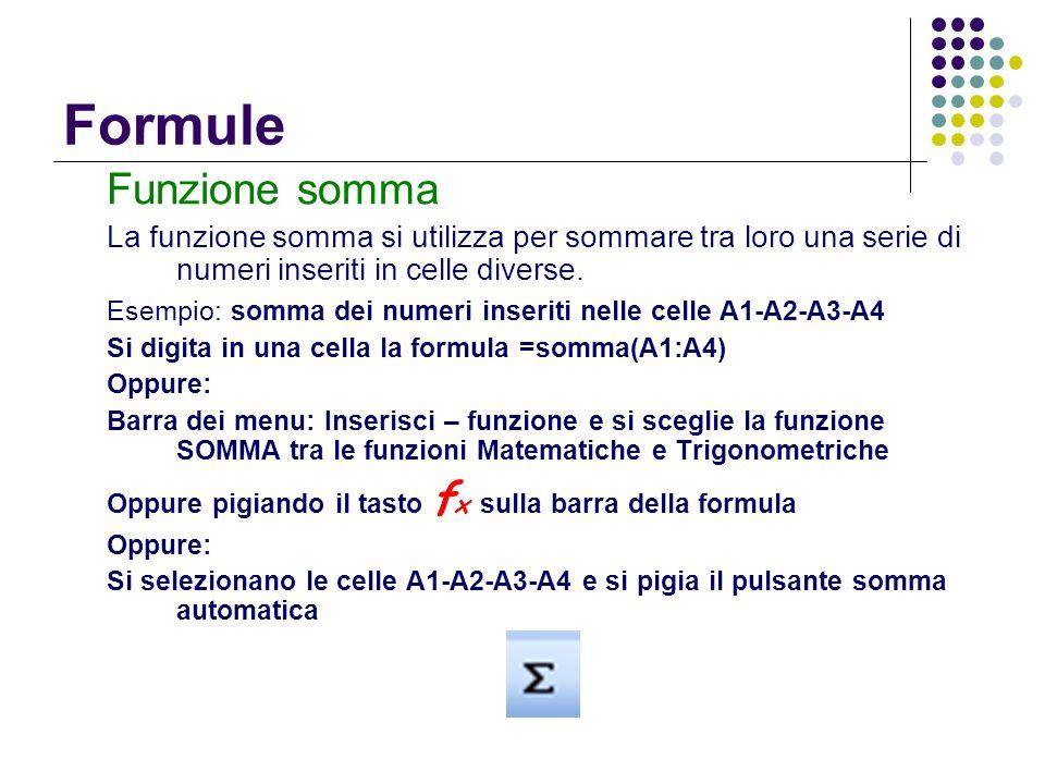 Funzione somma La funzione somma si utilizza per sommare tra loro una serie di numeri inseriti in celle diverse. Esempio: somma dei numeri inseriti ne