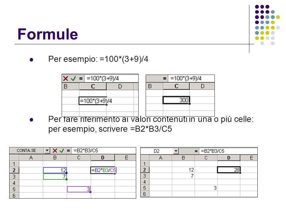 Formule Per esempio: =100*(3+9)/4 Per fare riferimento ai valori contenuti in una o più celle: per esempio, scrivere =B2*B3/C5