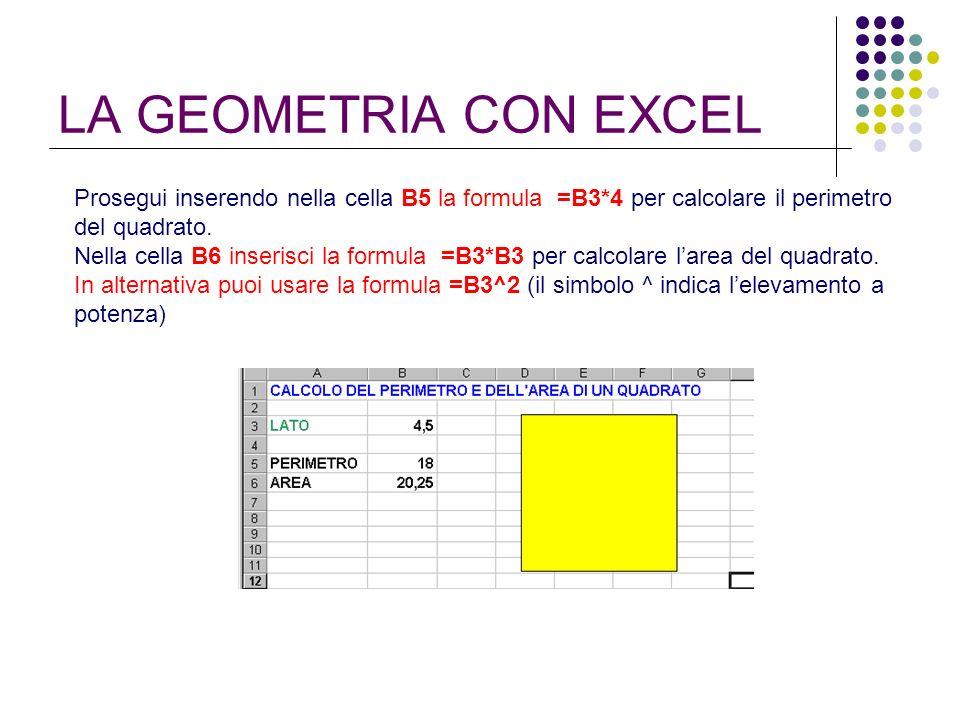 LA GEOMETRIA CON EXCEL Prosegui inserendo nella cella B5 la formula =B3*4 per calcolare il perimetro del quadrato. Nella cella B6 inserisci la formula