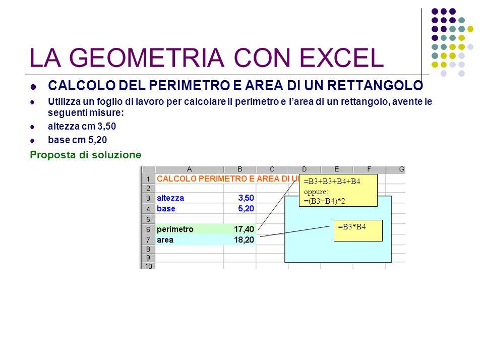 LA GEOMETRIA CON EXCEL CALCOLO DEL PERIMETRO E AREA DI UN RETTANGOLO Utilizza un foglio di lavoro per calcolare il perimetro e larea di un rettangolo,