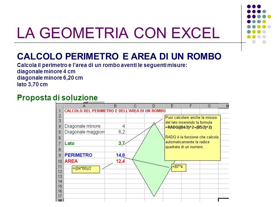 LA GEOMETRIA CON EXCEL CALCOLO PERIMETRO E AREA DI UN ROMBO Calcola il perimetro e larea di un rombo aventi le seguenti misure: diagonale minore 4 cm