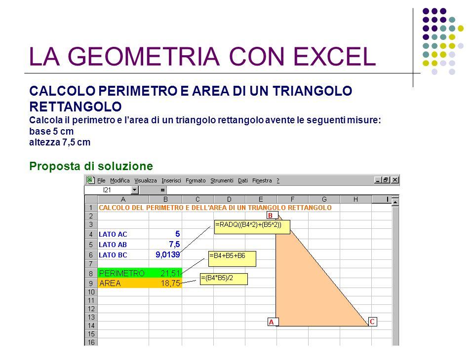 LA GEOMETRIA CON EXCEL CALCOLO PERIMETRO E AREA DI UN TRIANGOLO RETTANGOLO Calcola il perimetro e larea di un triangolo rettangolo avente le seguenti
