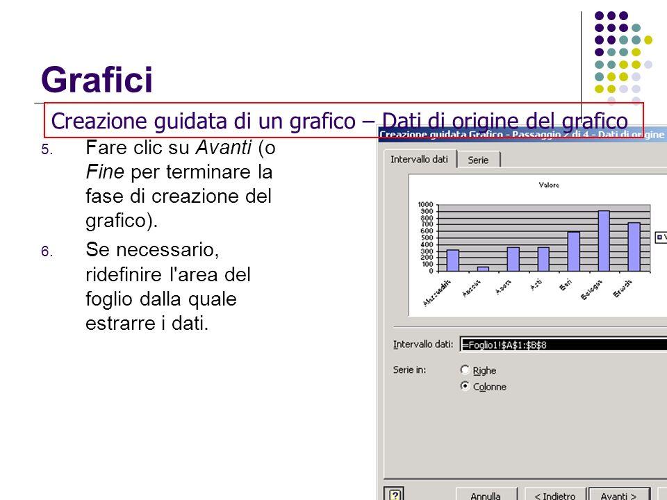 Grafici 5. Fare clic su Avanti (o Fine per terminare la fase di creazione del grafico). 6. Se necessario, ridefinire l'area del foglio dalla quale est