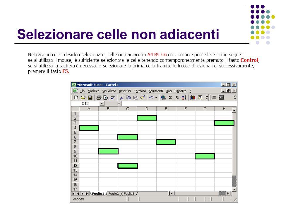 Selezionare celle non adiacenti Nel caso in cui si desideri selezionare celle non adiacenti A4 B9 C6 ecc. occorre procedere come segue: se si utilizza