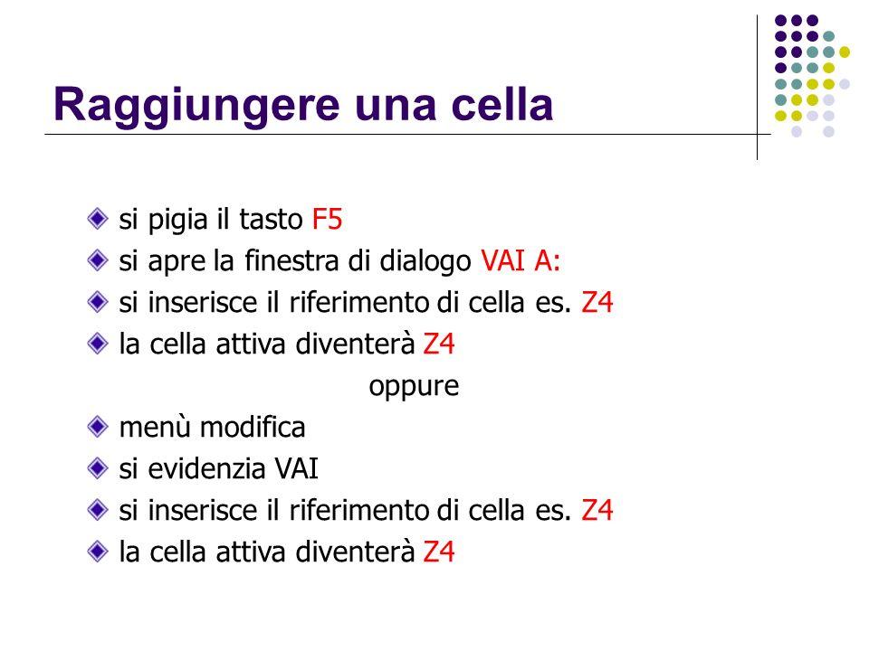 Raggiungere una cella si pigia il tasto F5 si apre la finestra di dialogo VAI A: si inserisce il riferimento di cella es. Z4 la cella attiva diventerà