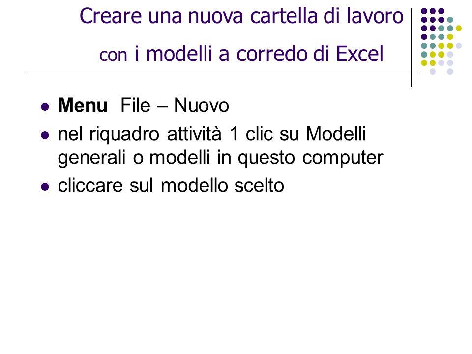 Menu File – Nuovo nel riquadro attività 1 clic su Modelli generali o modelli in questo computer cliccare sul modello scelto Creare una nuova cartella