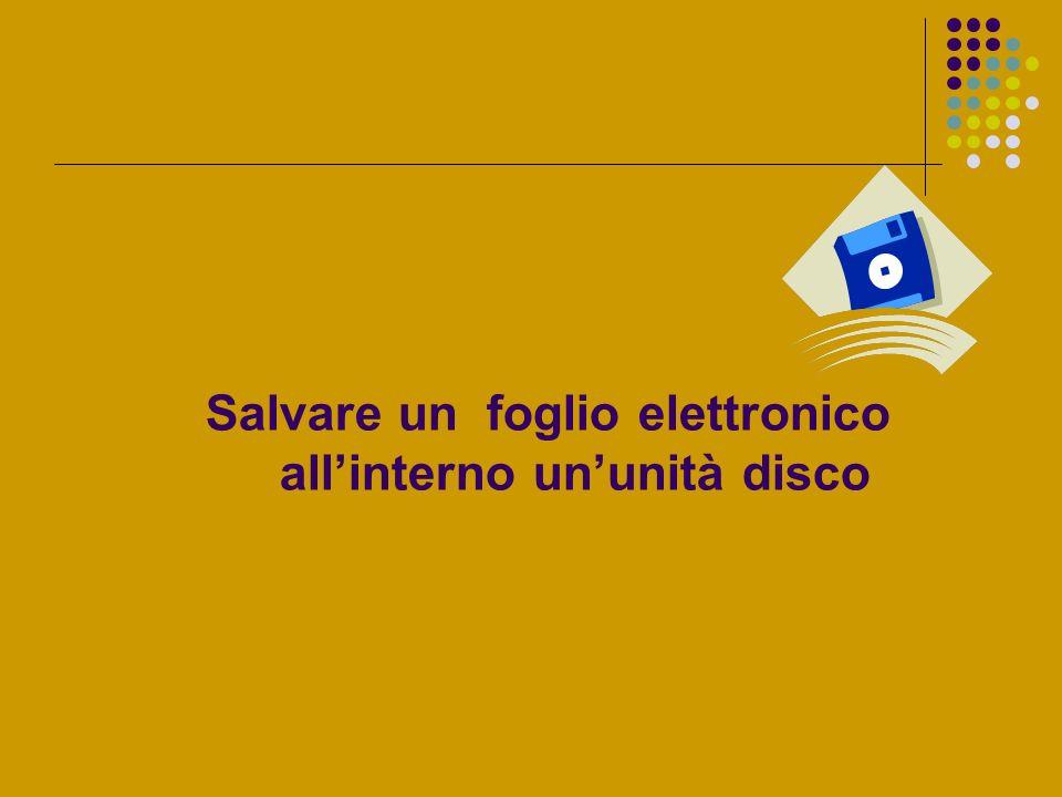Salvare un foglio elettronico allinterno ununità disco