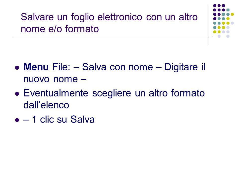 Salvare un foglio elettronico con un altro nome e/o formato Menu File: – Salva con nome – Digitare il nuovo nome – Eventualmente scegliere un altro fo