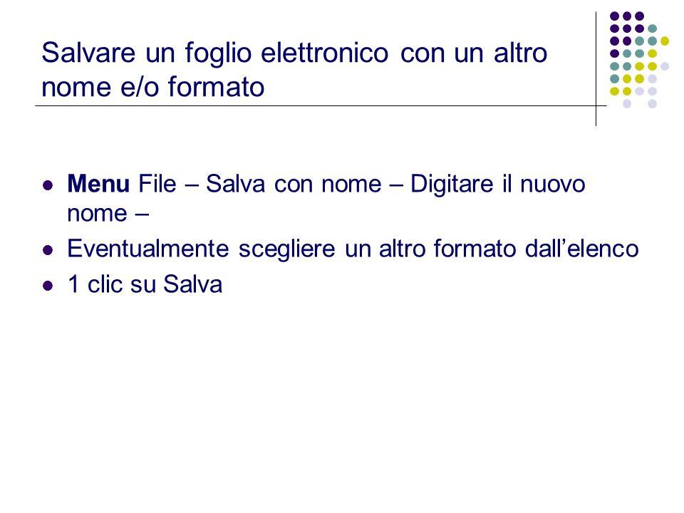 Salvare un foglio elettronico con un altro nome e/o formato Menu File – Salva con nome – Digitare il nuovo nome – Eventualmente scegliere un altro for