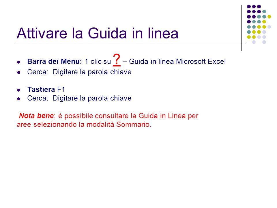 Attivare la Guida in linea Barra dei Menu: 1 clic su ? – Guida in linea Microsoft Excel Cerca: Digitare la parola chiave Tastiera F1 Cerca: Digitare l