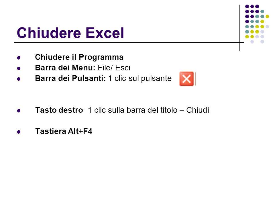 Chiudere Excel Chiudere il Programma Barra dei Menu: File/ Esci Barra dei Pulsanti: 1 clic sul pulsante Tasto destro 1 clic sulla barra del titolo – C