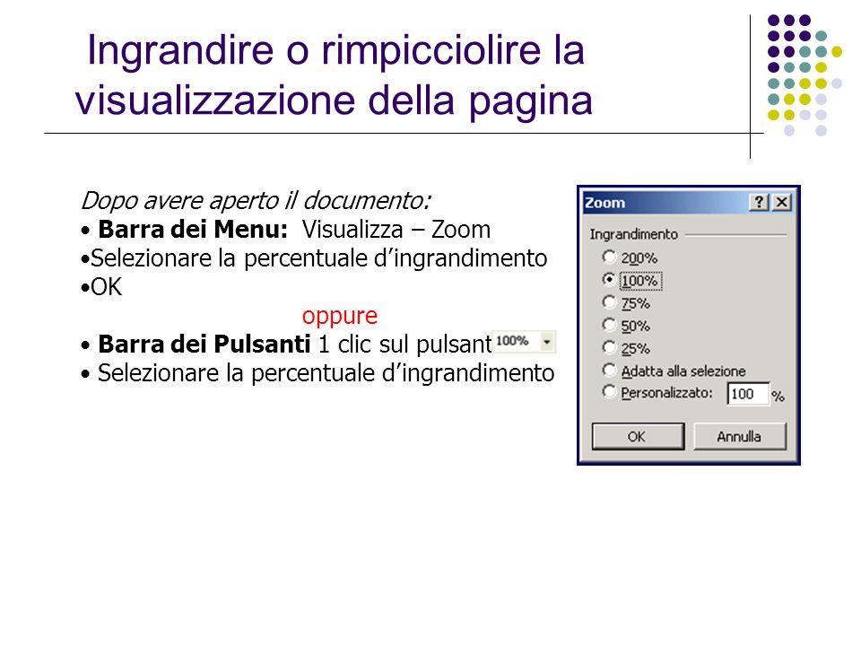 Dopo avere aperto il documento: Barra dei Menu: Visualizza – Zoom Selezionare la percentuale dingrandimento OK oppure Barra dei Pulsanti 1 clic sul pu