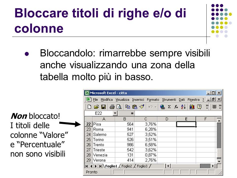 Bloccare titoli di righe e/o di colonne Bloccandolo: rimarrebbe sempre visibili anche visualizzando una zona della tabella molto più in basso. Non blo