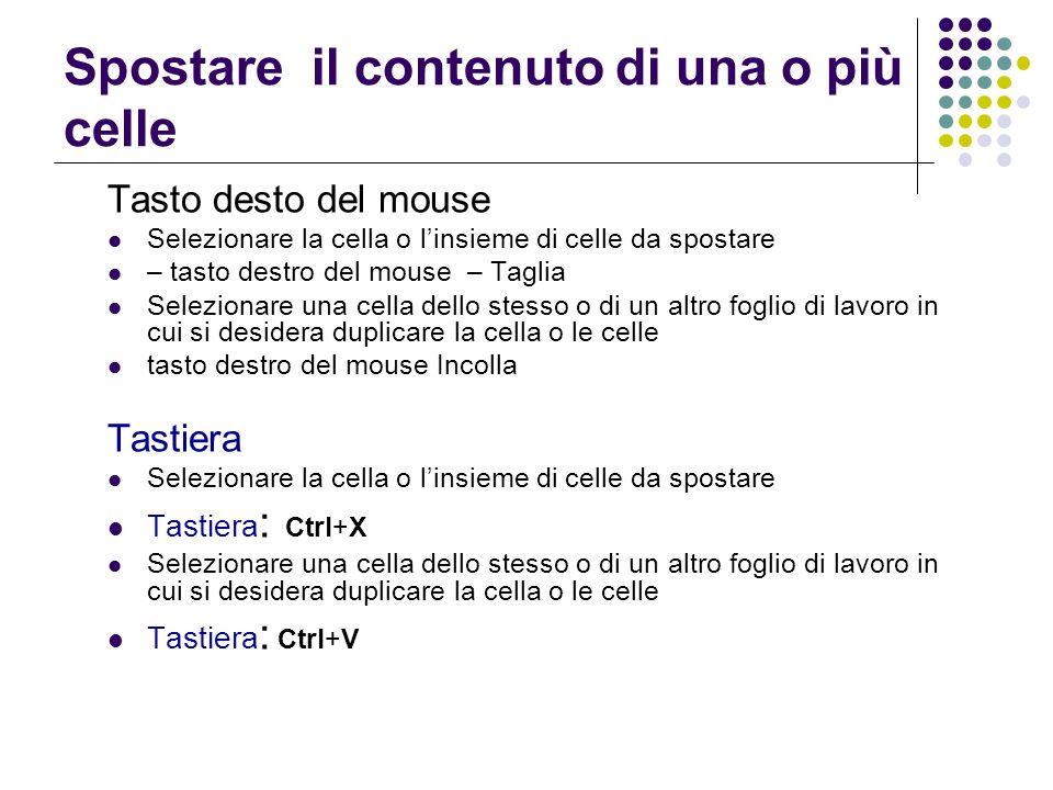 Spostare il contenuto di una o più celle Tasto desto del mouse Selezionare la cella o linsieme di celle da spostare – tasto destro del mouse – Taglia