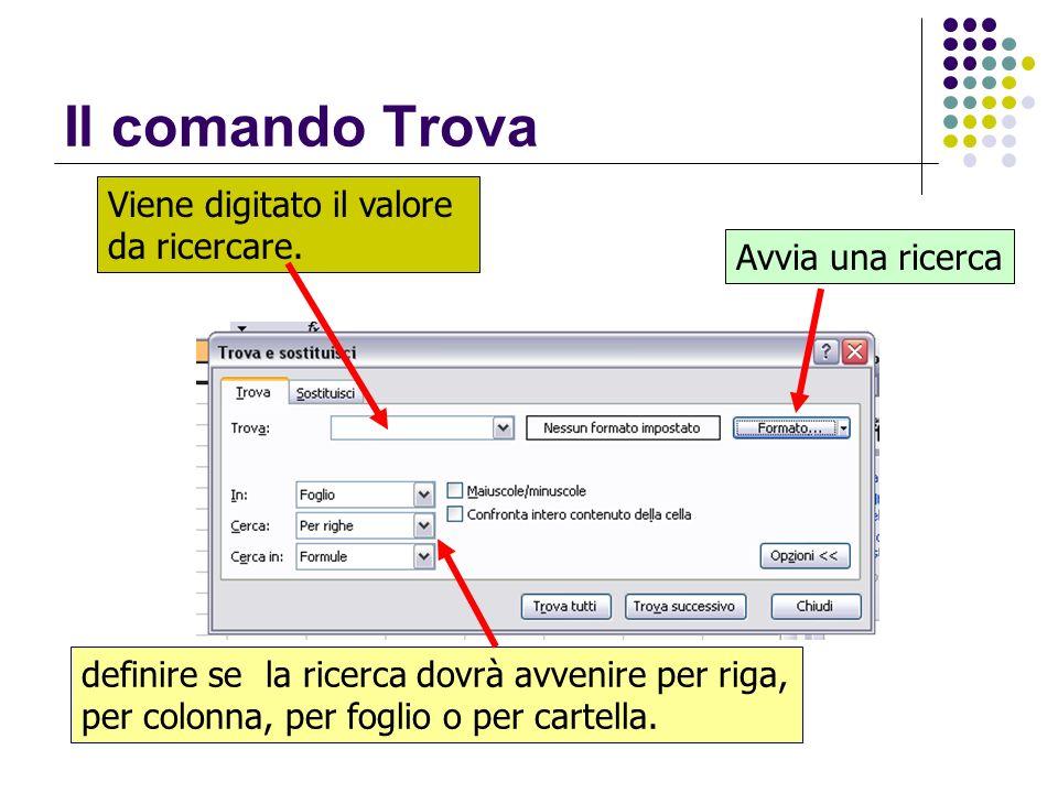 Il comando Trova Viene digitato il valore da ricercare. definire se la ricerca dovrà avvenire per riga, per colonna, per foglio o per cartella. Avvia
